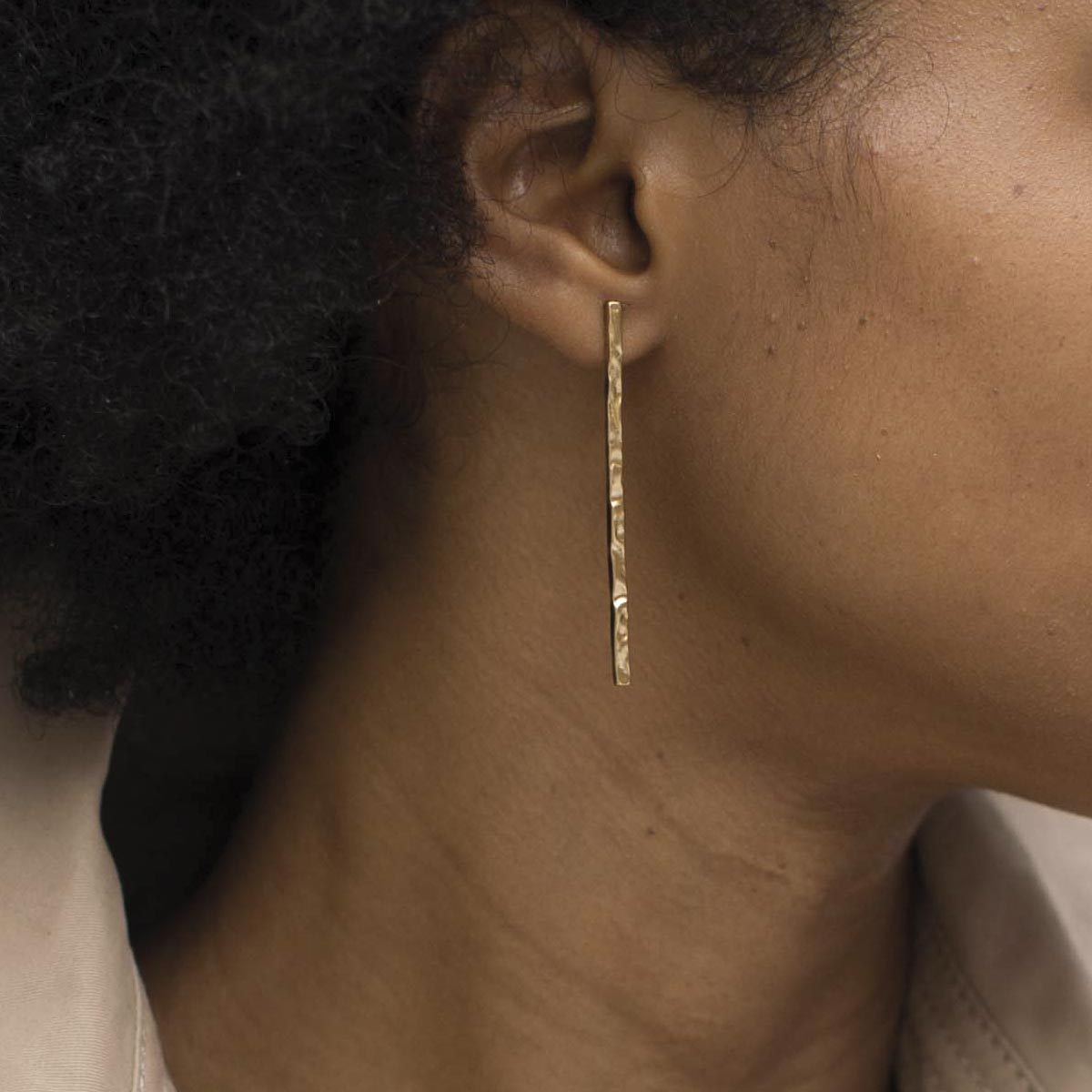 boucle oreille barre or taille m bijoux LEONE