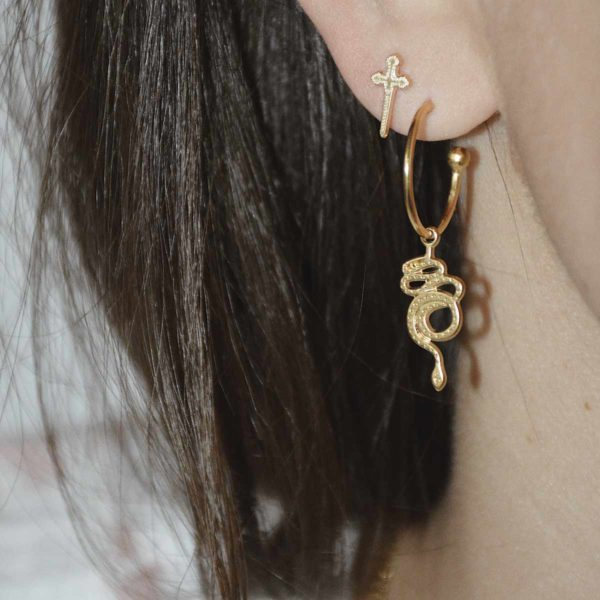 boucle oreille creole or serpent manequin