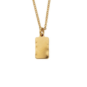 collier mini rectangle martelé or bijoux leone
