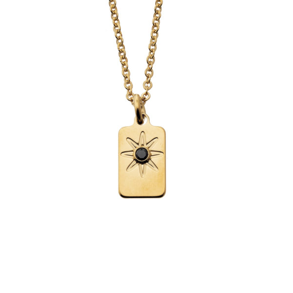 collier mini rectangle or zircon noir bijoux leone