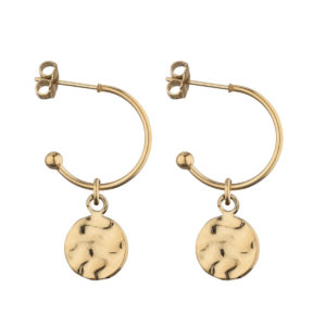Hoops mini hammered pendant gold earrings LEONE jewelry