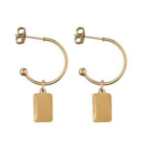 Hoops mini hammered rectangle gold earrings LEONE jewelry