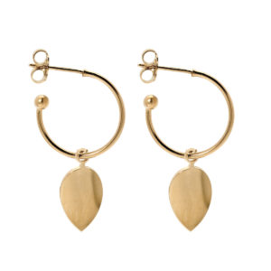 Hoops mini leaf gold earrings LEONE jewelry