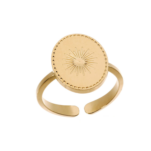 Ring sun coin gold LEONE jewelry