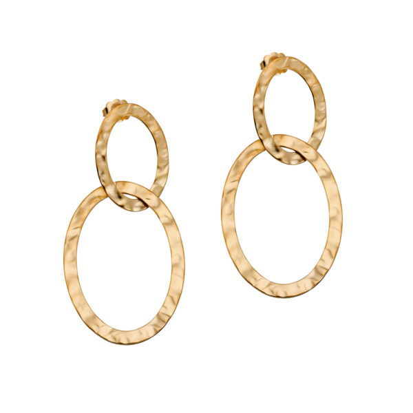 Gold hammered double oval earrings LEONE jewelry