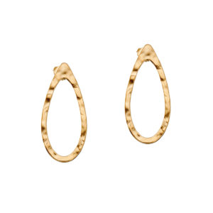 Gold hammered drop earrings LEONE jewelry