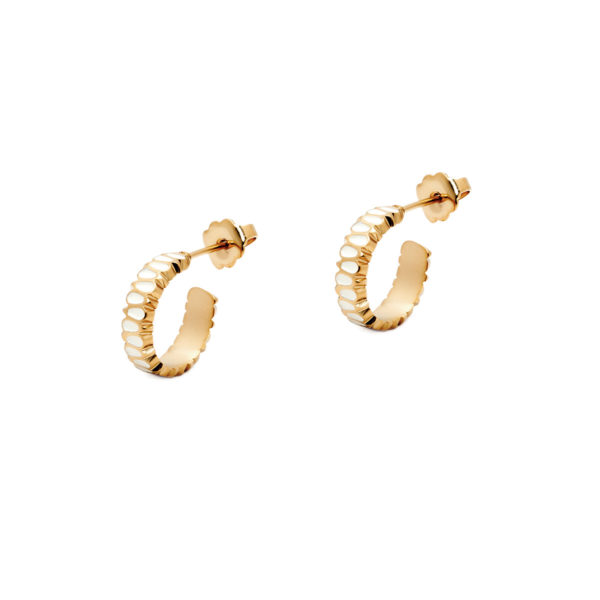 Gold petal ivory mini hoop earrings LEONE jewelry