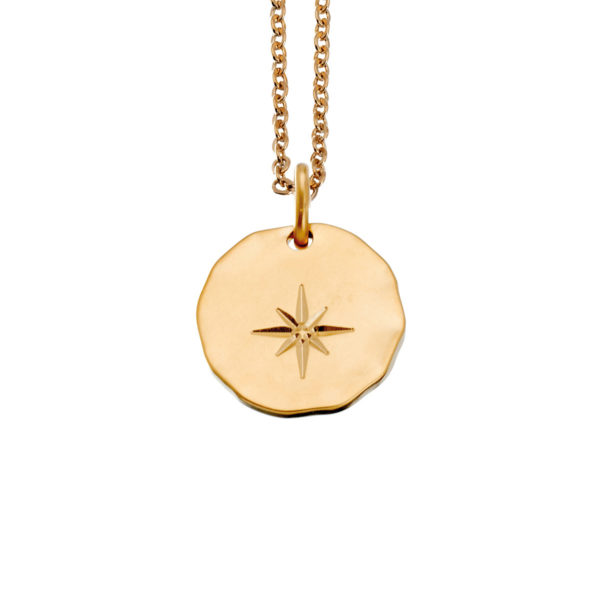 Hammered gold star medal necklace LEONE jewelry