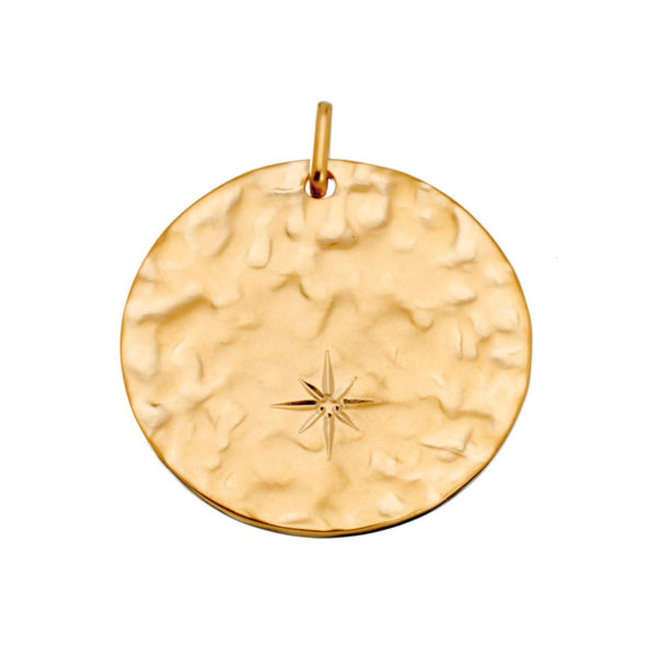 Star gold hammered medal necklace LEONE jewelry