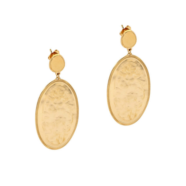 hoops oval gold coin earrings