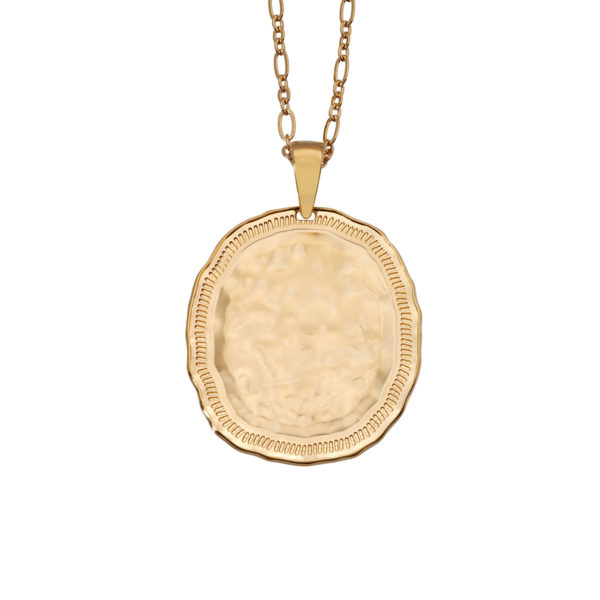 Necklace hammered oval gold coin