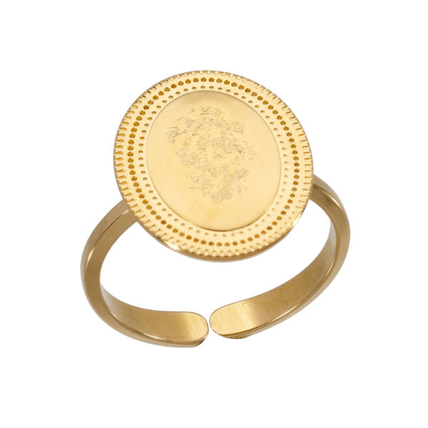 hammered gold coin ring