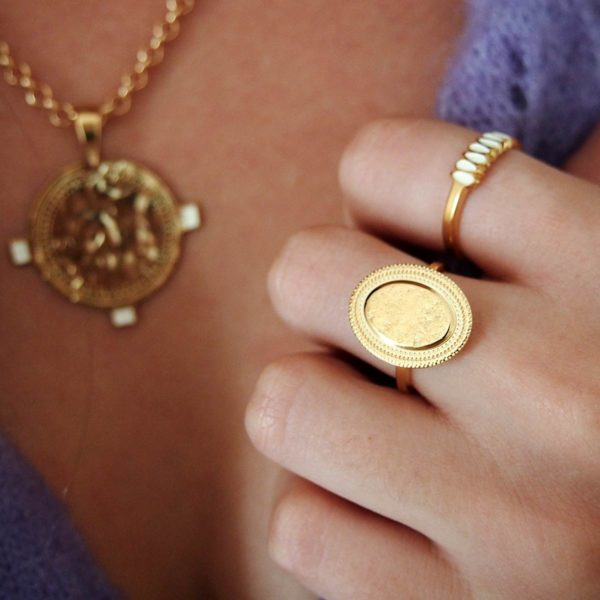 Ring Hammered Gold Coin worn