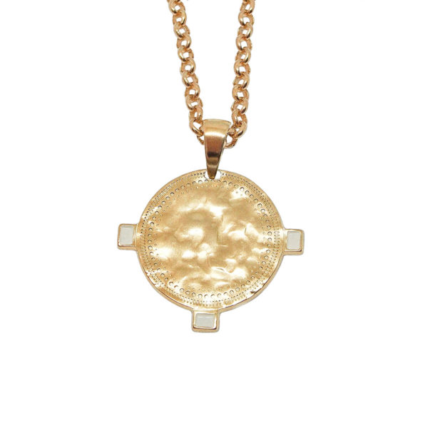 hammered Ivory gold coin necklace